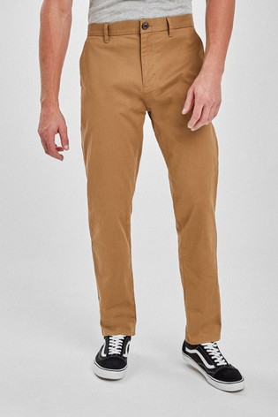 Tan Loose Fit Stretch Chinos