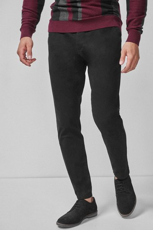 Black Tapered Slim Fit Stretch Chinos