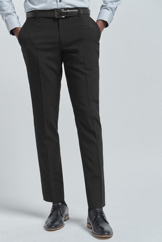 Black Regular Fit Belted Stretch Trousers