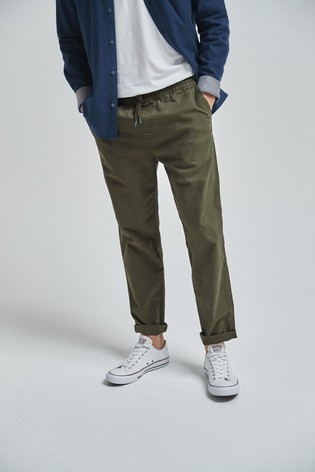 Khaki Tapered Fit Elasticated Waist Trousers