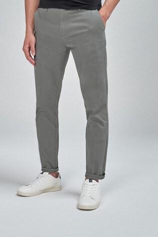 Grey Skinny Fit Stretch Chinos