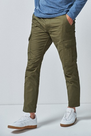 Green Slim Fit Cotton Cargo