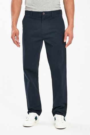 Navy Loose Fit Stretch Chinos