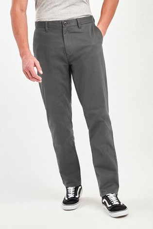 Dark Grey Relaxed Fit Stretch Chino Trousers