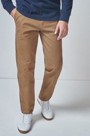Tan Straight Fit Stretch Chinos