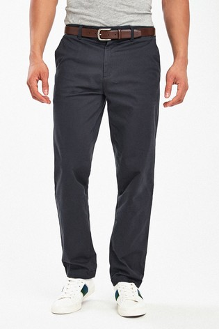 Navy Straight Fit Signature Soft Touch Leather Belt Chino Trousers