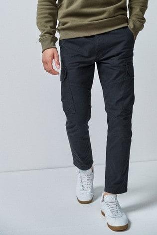 Black Slim Fit Cotton Cargo