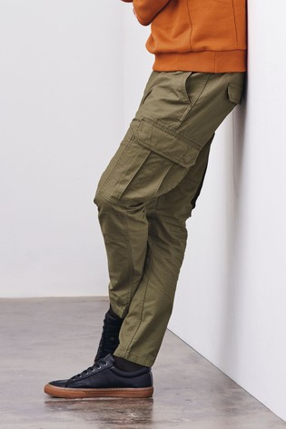 Green Straight Fit Cotton Cargo