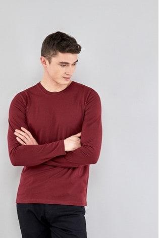 Burgundy Regular Fit Long Sleeve Crew Neck T-Shirt