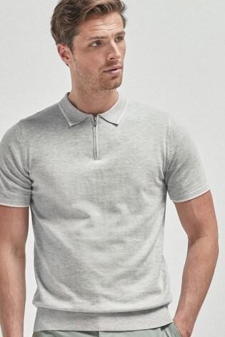 Grey Cotton Short Sleeve Zip Polo Top