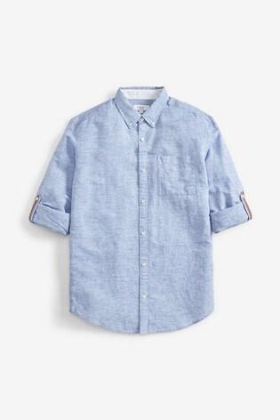 Blue Regular Fit Linen Blend Roll Sleeve Shirt