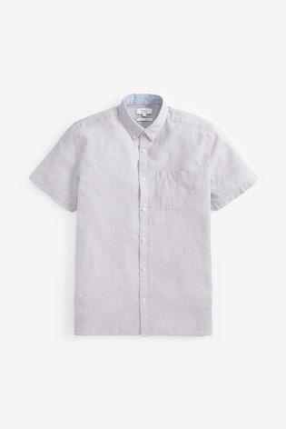 Grey Regular Fit Linen Blend Short Sleeve Shirt