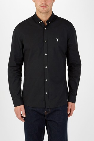 Black Slim Fit Long Sleeve Stretch Oxford Shirt
