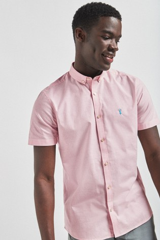 Coral Slim Fit Short Sleeve Stretch Oxford Shirt