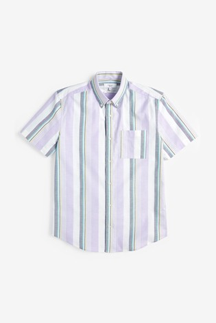 Lilac Regular Fit Variated Stripe Short Sleeve Shirt