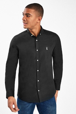 Black Skinny Fit Long Sleeve Stretch Oxford Shirt
