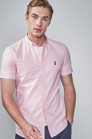 Pink Skinny Fit Short Sleeve Stretch Oxford Shirt