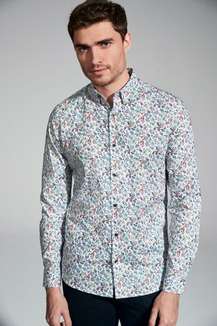 White Slim Fit Garden Floral Long Sleeve Shirt