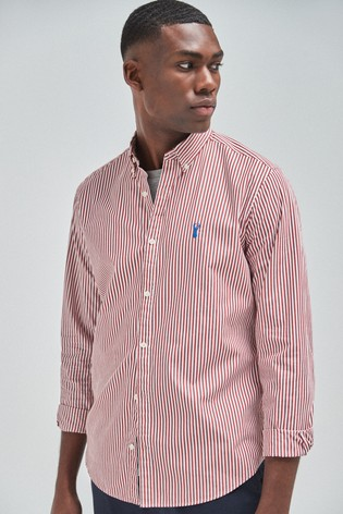 Red Regular Fit Stripe Stag Shirt