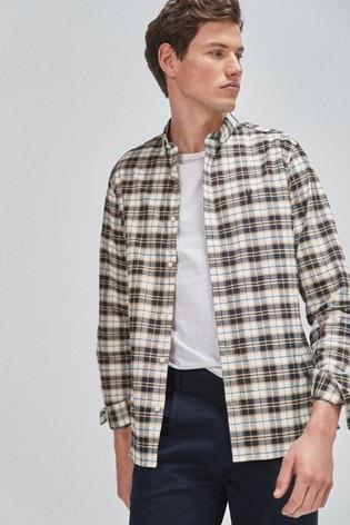 White/Blue Slim Fit Check Long Sleeve Shirt