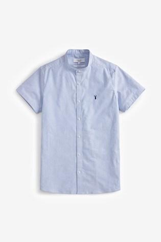 White/Blue Slim Fit Short Sleeve Stretch Oxford Grandad Collar Shirt