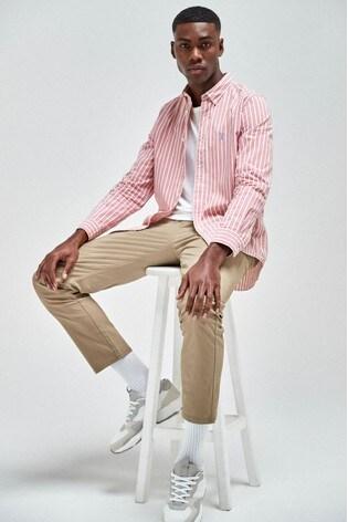 Pink Regular Fit Stripe Stag Shirt