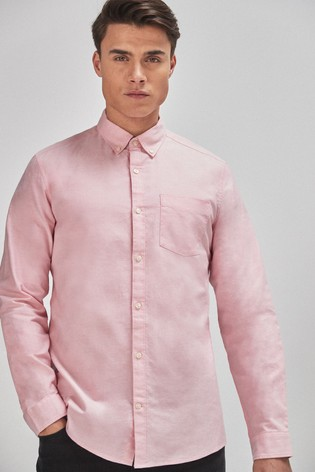 Pink Slim Fit Long Sleeve Oxford Shirt