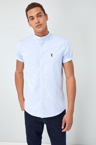 Blue Slim Fit Short Sleeve Stretch Oxford Grandad Collar Shirt