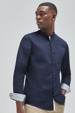 Blue Slim Fit Textured Slim Fit Grandad Collar Long Sleeve Shirt