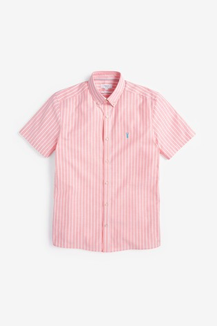 Coral Slim Fit Stripe Short Sleeve Stretch Oxford Shirt