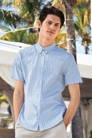 Blue Slim Fit Stripe Short Sleeve Stretch Oxford Shirt