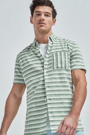 Green Regular Fit Stripe Linen Blend Short Sleeve Shirt