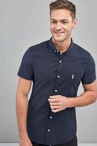 Navy Skinny Fit Short Sleeve Stretch Oxford Shirt