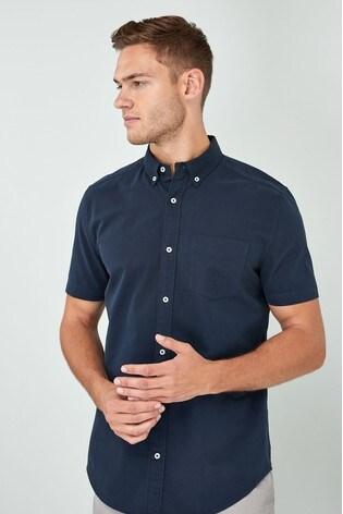 Navy Regular Fit Short Sleeve Oxford Shirt
