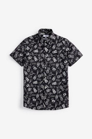Black Slim Fit Print Short Sleeve Shirt
