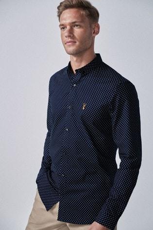 Navy Polka Dot Slim Fit Long Sleeve Stretch Oxford Shirt