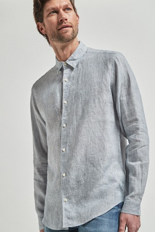 Blue Regular Fit Linen Stripe Long Sleeve Shirt