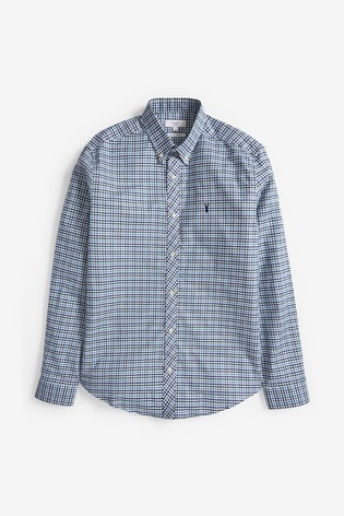 Blue/Green Slim Fit Gingham Long Sleeve Stretch Oxford Shirt