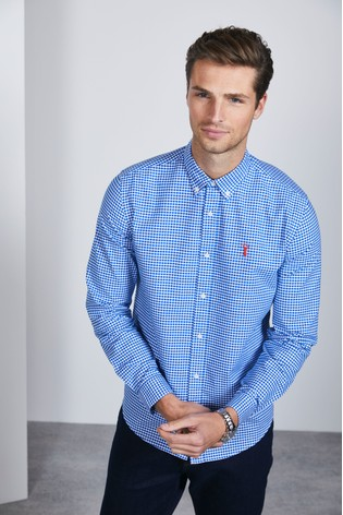 Blue Slim Fit Gingham Long Sleeve Stretch Oxford Shirt