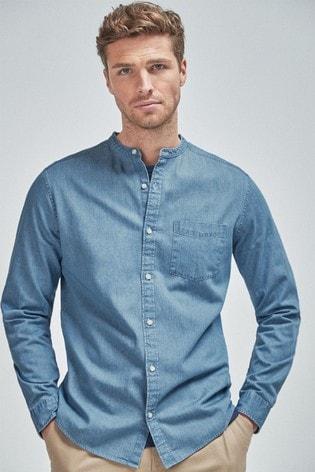 Blue Regular Fit Denim Mid Wash Long Sleeve Grandad Collar Shirt