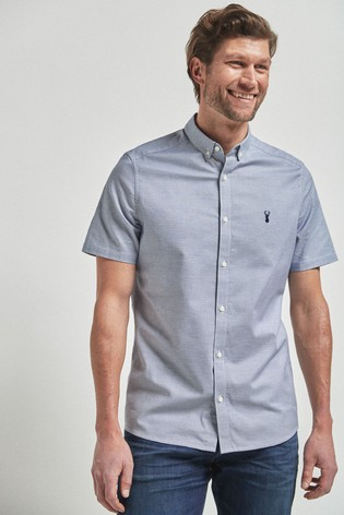 Blue Puppytooth Short Sleeve Stretch Oxford Shirt
