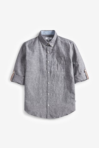 Charcoal Regular Fit Linen Blend Roll Sleeve Shirt
