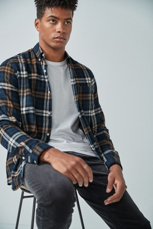 Navy/Ochre Regular Fit Brushed Flannel Check Long Sleeve Shirt