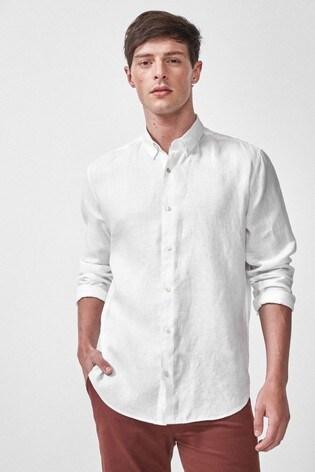 White Pure Linen Regular Fit Shirt