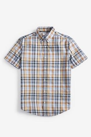Light Blue Regular Fit Short Sleeve Madras Check Shirt