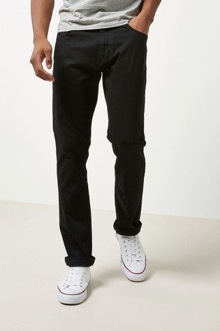 Solid Black Slim Fit Jeans With Stretch