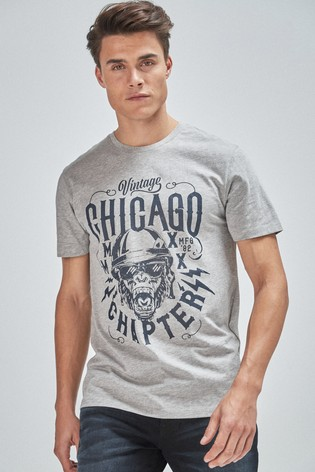 Grey Marl Graphic Regular Fit T-Shirt