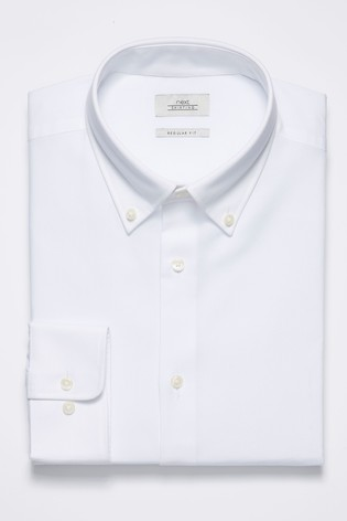 White Slim Fit Single Cuff Easy Care Oxford Shirt