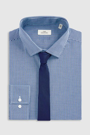 Navy Slim Fit Single Cuff Mini Gingham Shirt And Tie Set