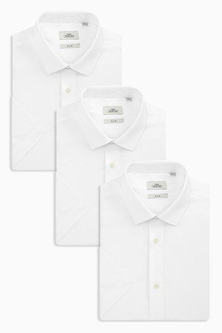 White Slim Fit Single Cuff Shirts Three Pack